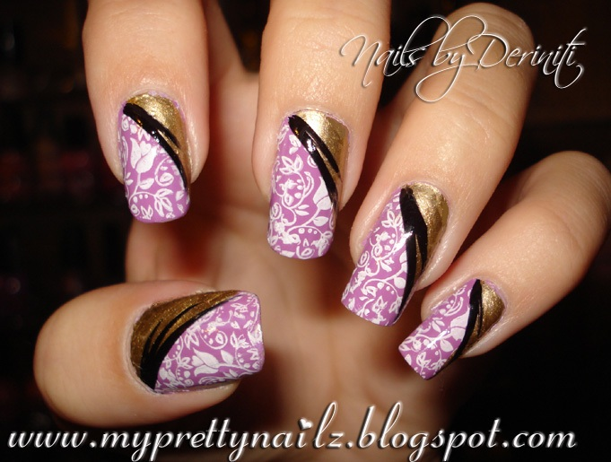 My Pretty Nailz Mothers Day Mani Purple And Gold Nails With Rose
