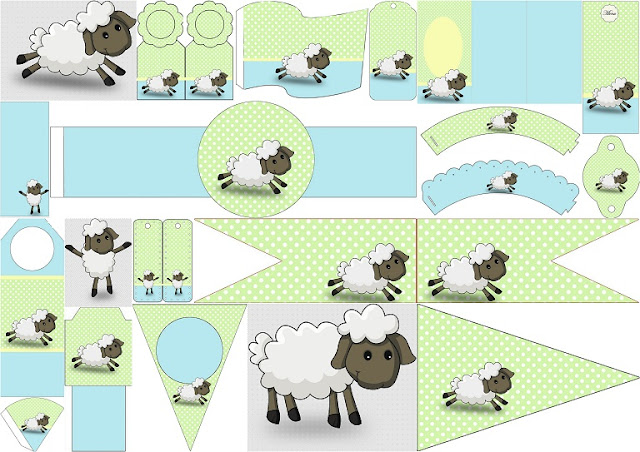 Cute Sheep in Light Blue and Green: Image and Free Party Pritnable.