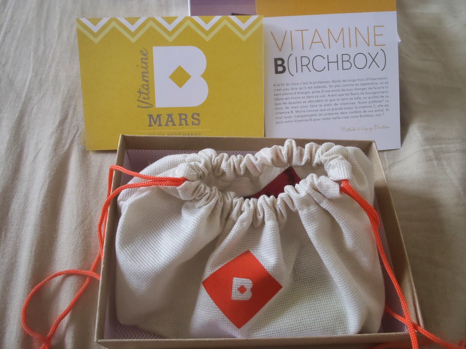 contenu birchbox 2014, carte de présentation, menu de la box, pochon orange de la box