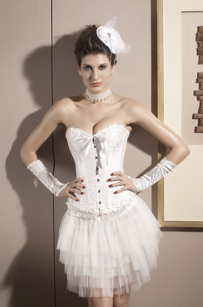 White Waist Training Bridal Overbust Corset