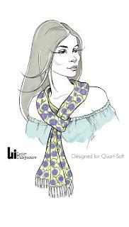 dessin de mode (figurine au foulard autour du cou)