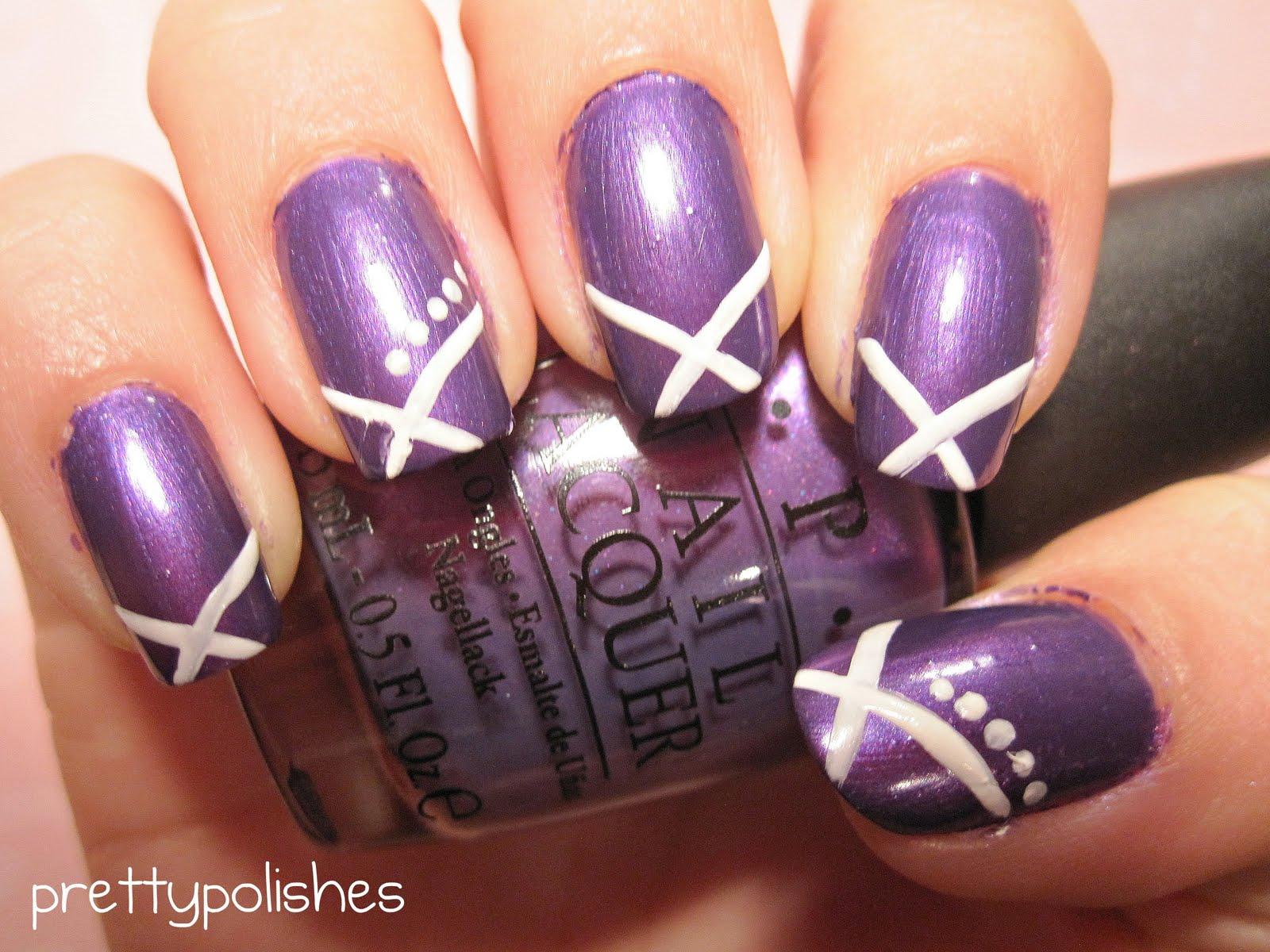 prettypolishes: Simple Purple and White Nail Design