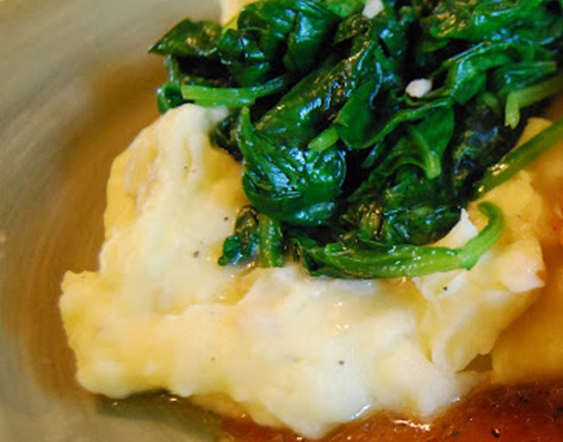 Sauteed Garlic Spinach on Mashed Potatoes | by Life Tastes Good