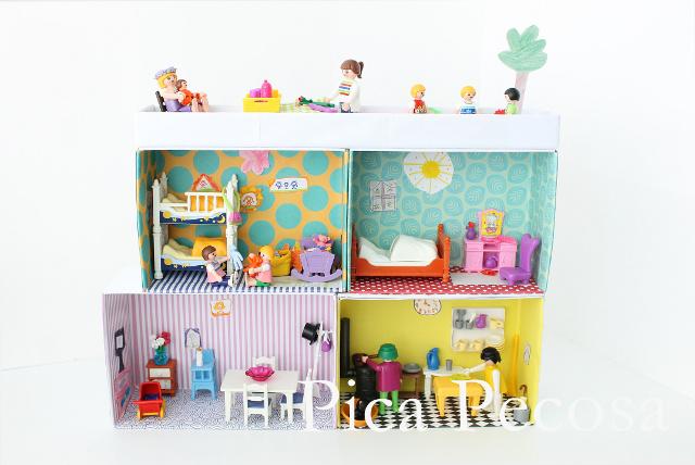 Construye una casa para los playmobil con 4 cajas de zapatos recicladas pica pecosa Casas hechas de carton