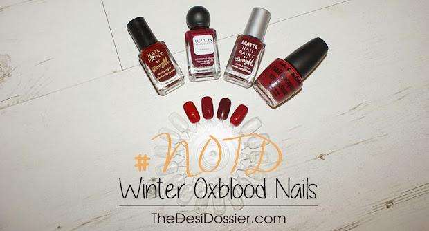#notd winter oxblood nails