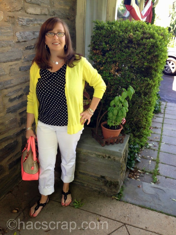 White Jeans, Polka Dot Top and Yellow Cardi