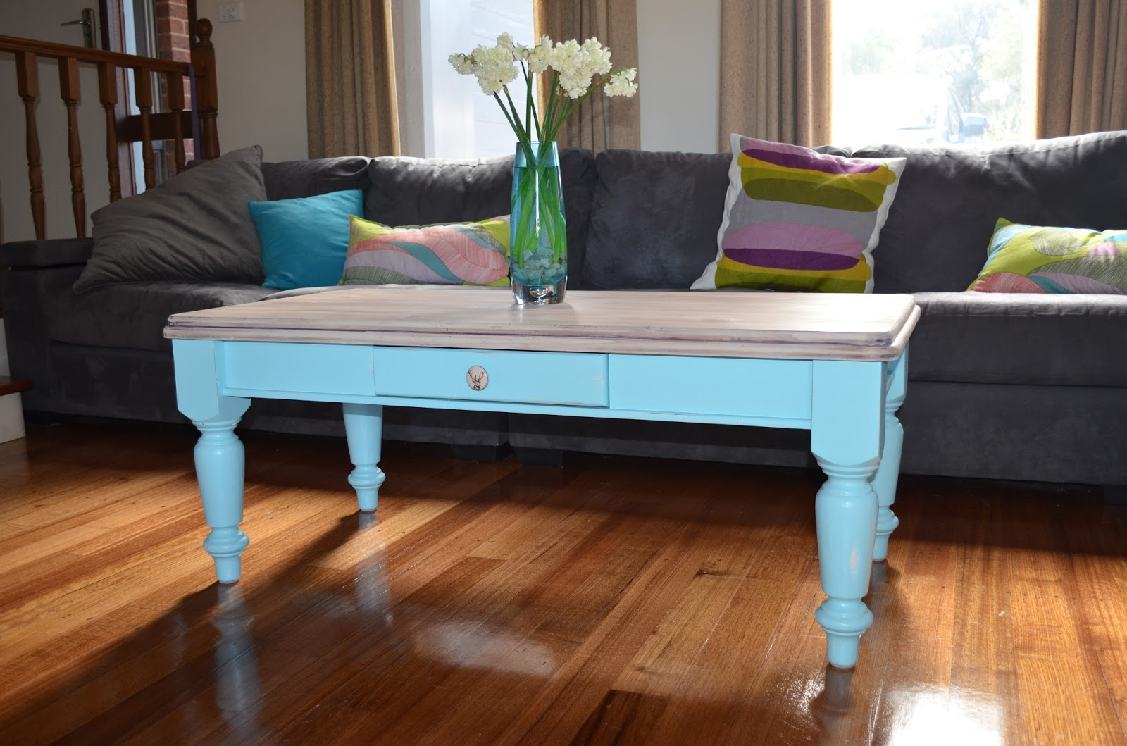 Retro Vintage Love Pale Blue and Whitewashed Distressed Coffee Table
