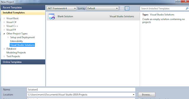 Add New solutions in vs 2010