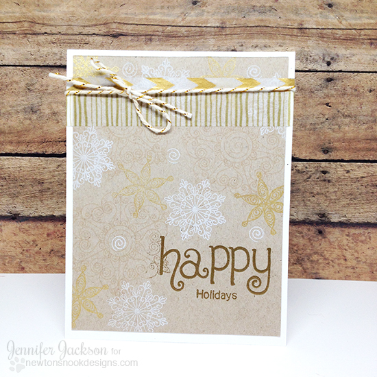 Snowflake Holiday card by Jennifer Jackson | Beautiful Blizzard & Simply Seasonal stamp sets by Newton's Nook Designs #newtonsnook