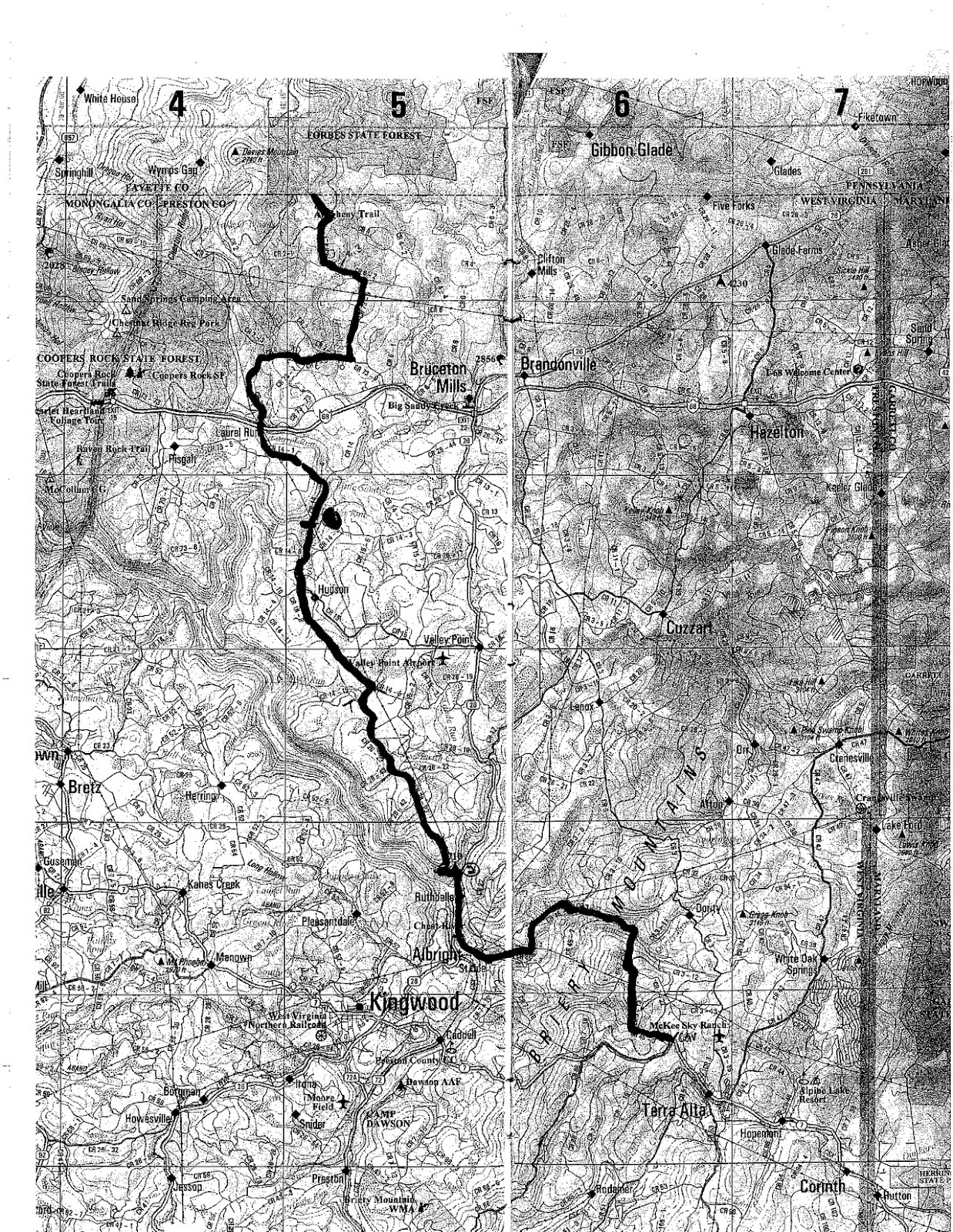 this is an overview map of the first 32 miles of the allegheny trail heading north to south