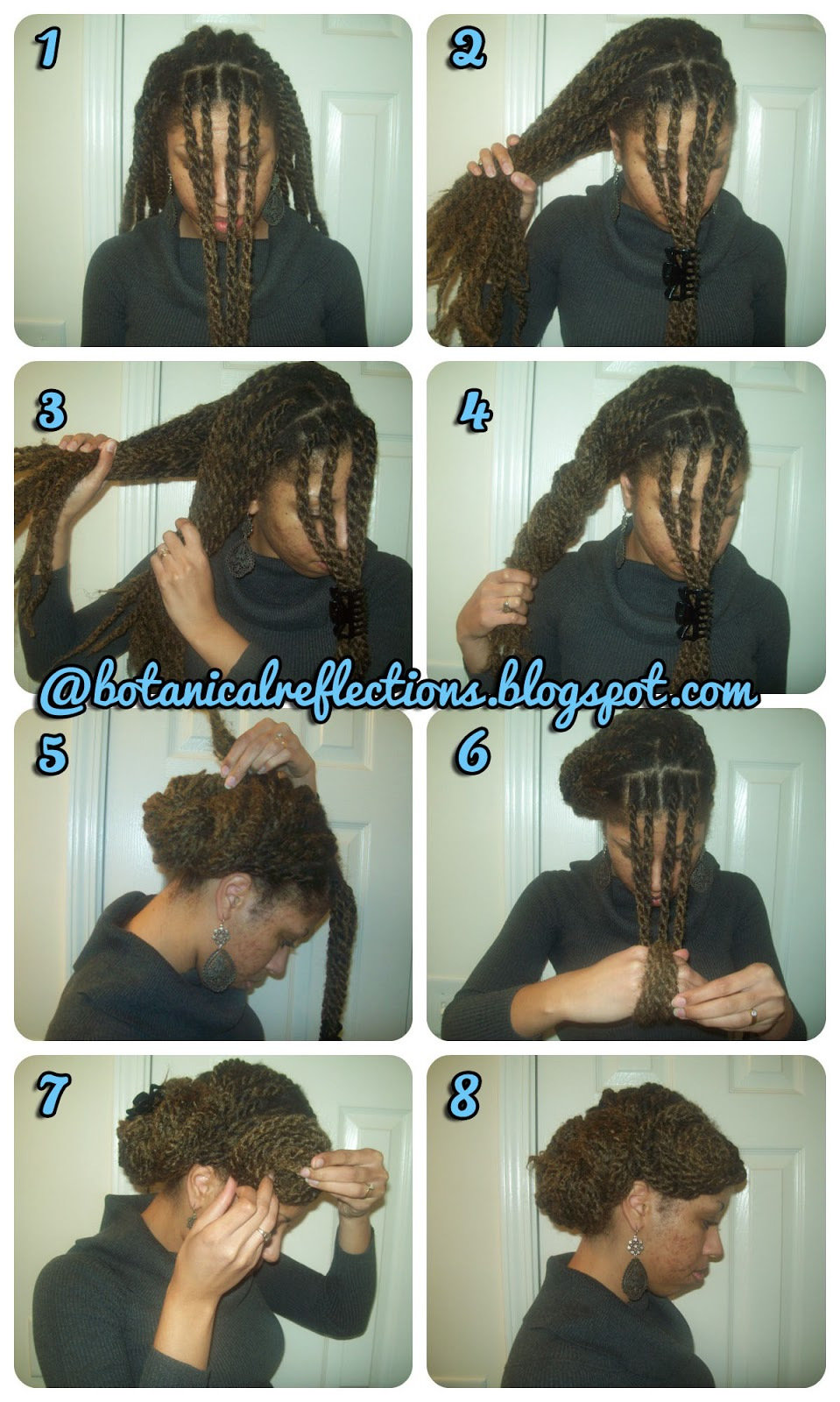 Pull four twists (or 50% of the front row of twists) to the front.