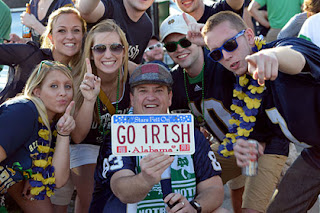 Notre Dame fans tailgating for the BCS Championship. (US Presswire)