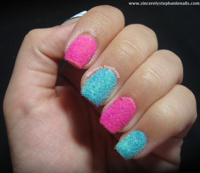 cotton candy flocking powder nail art