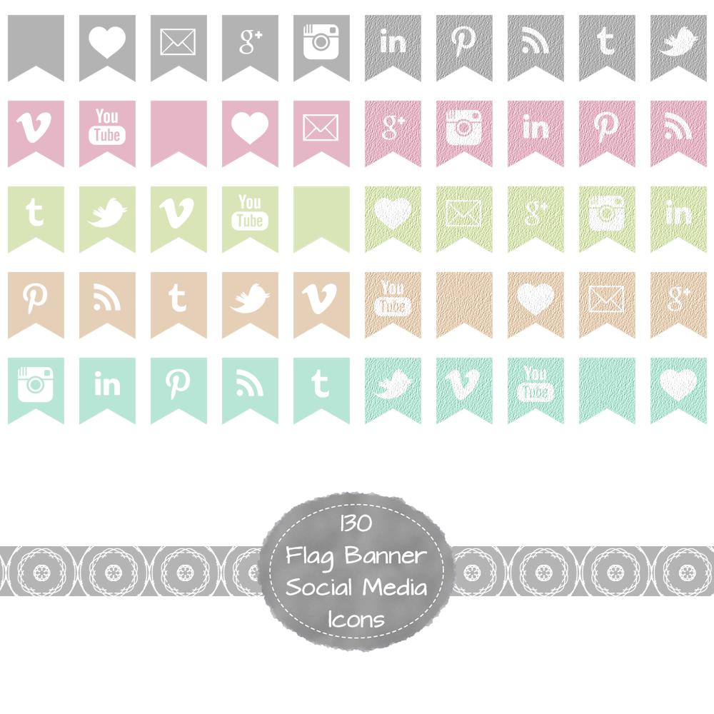 Design banner for etsy - Social Media Flag Banners In Pastel