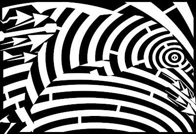 op art maze of dolphin jumpe