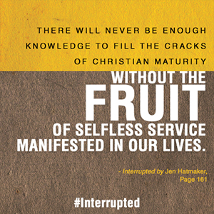 never enough knowledge without fruit of selfless service // #interrupted by Jen Hatmaker