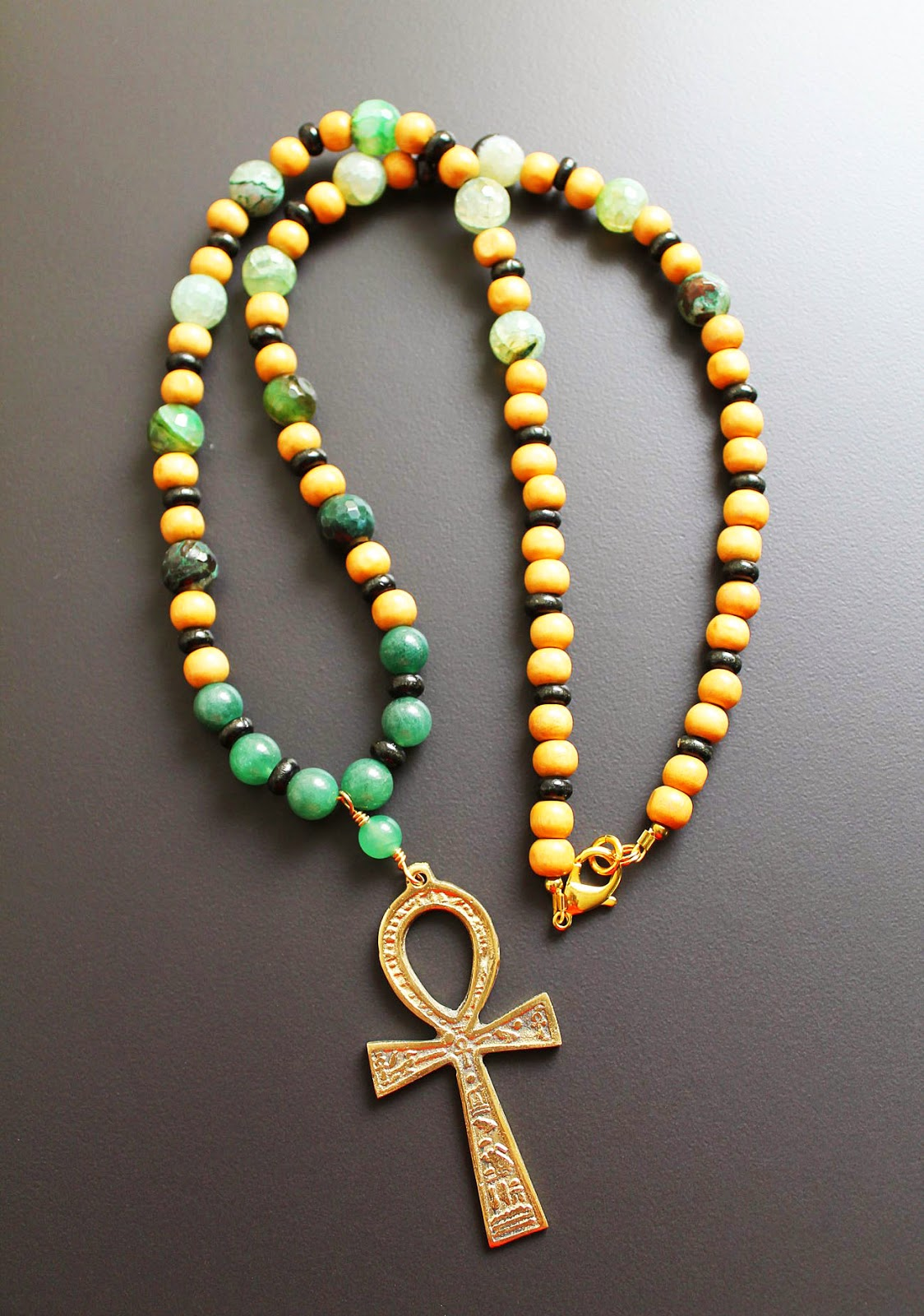mens kemetic brass ankh pendant