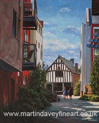 Southampton Medieval Merchant House from High st oil painting