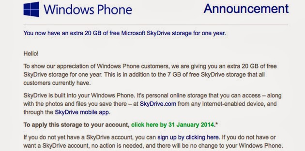 Microsoft Giving Free 20GB SkyDrive Space To Windows Phone Users