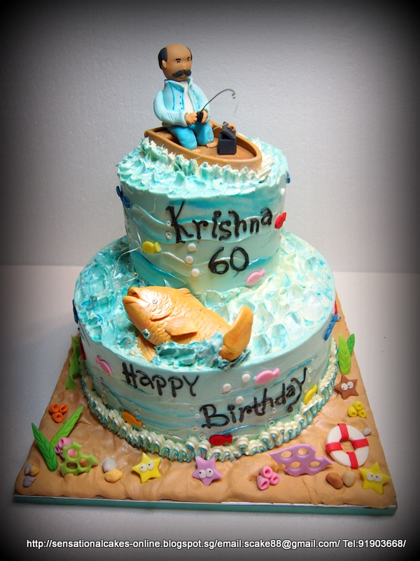 The Sensational Cakes Fishing Theme Cake Singapore 60th Birthday