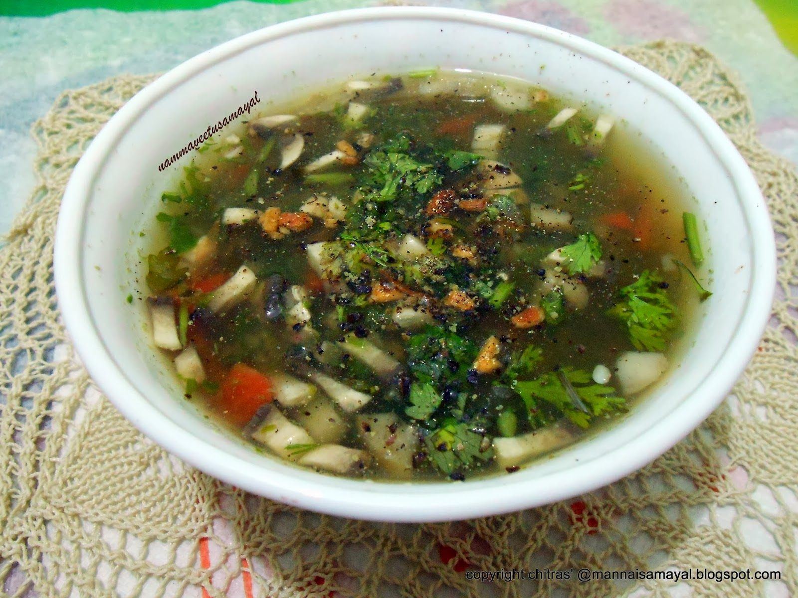 Green coriander buckwheat soup [ Cilantro n Buckwheat Soup ]