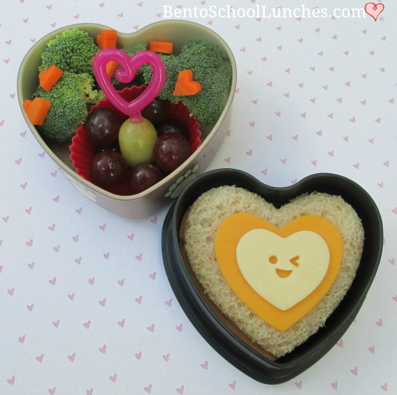 Layer of hearts Valentine's lunch, bento school lunch