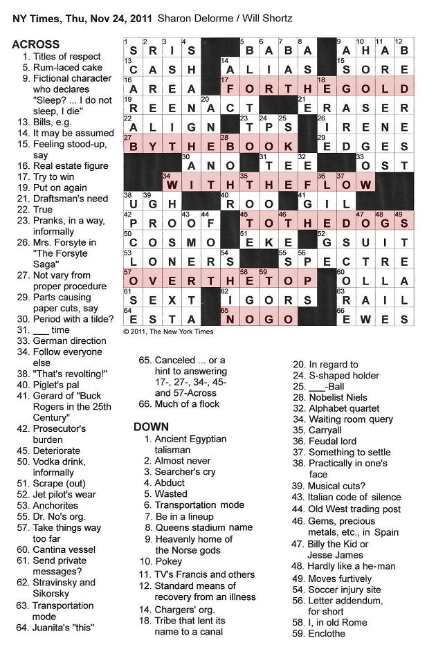 crossword puzzles clues & answer