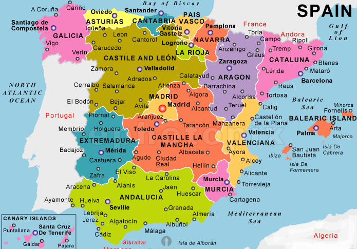 Map of Spain more than 150 quality images to print ADIRONDACK
