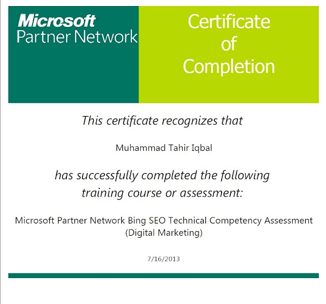 Microsoft Partner Network Bing SEO Technical Competency Assessment (Digital Marketing)