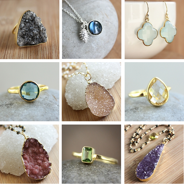 Earrings, necklaces, and rings by Vancouver-based gemstone jewelry line OhKuol featuring druzy, quartz, aqua chalcedony, citrine, and labradorite