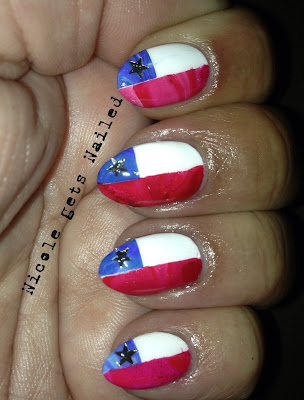 Water Marble Chile Flag Nails