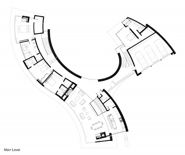 Main level floor plan of the modern otter cove residence