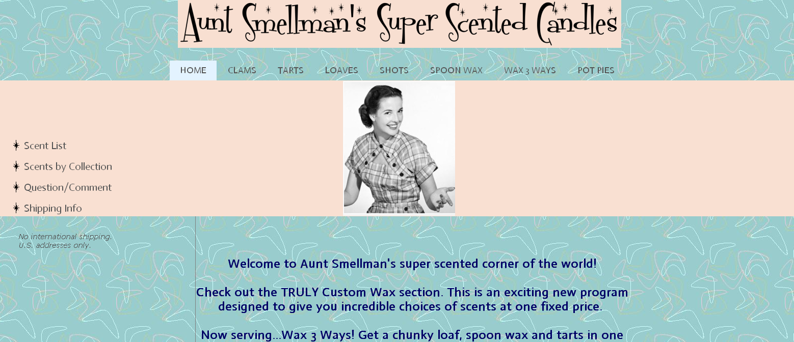 aunt smellman's super scented candles website