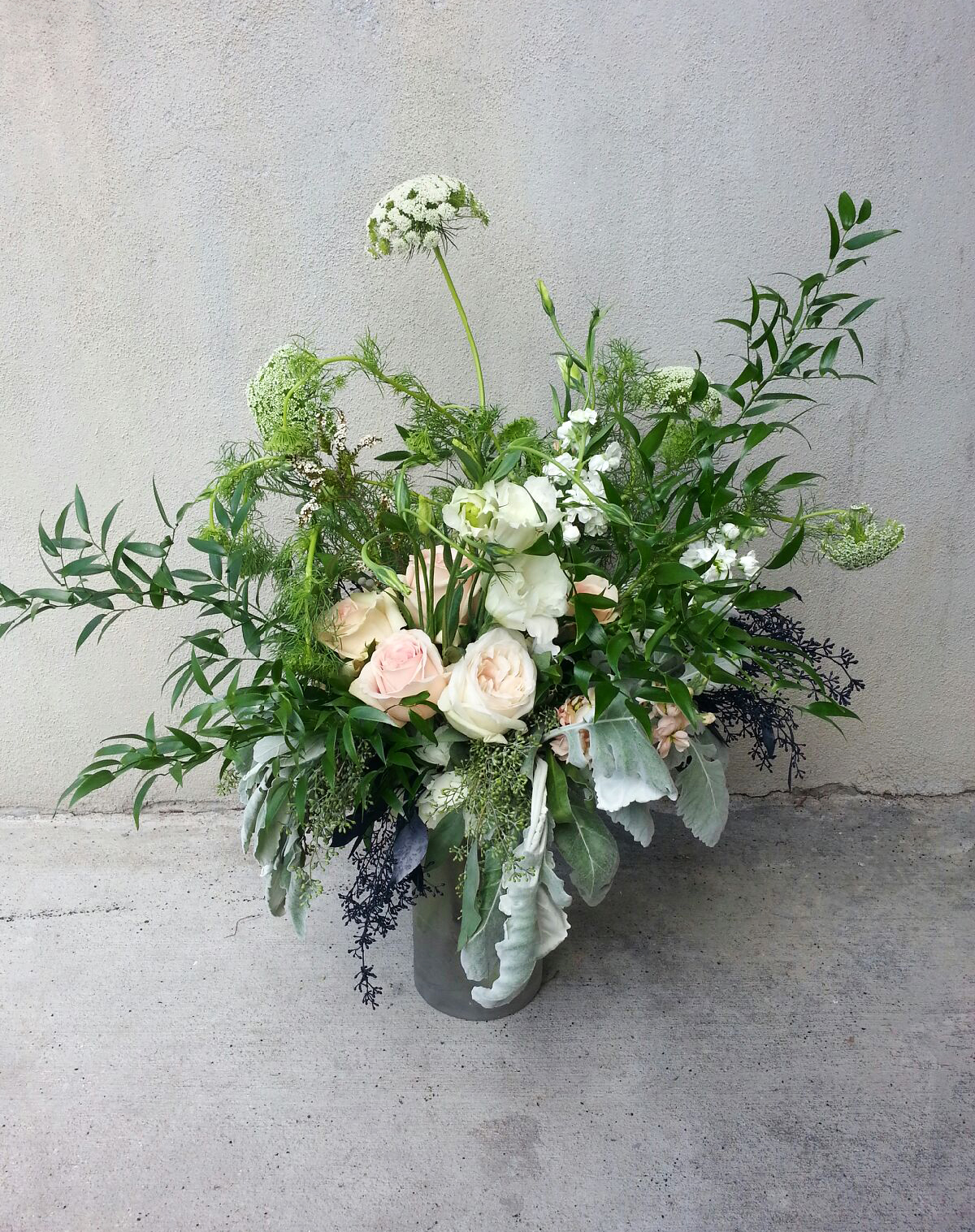 Seeded Eucalyptus Navy Airbrushed Queen Annes Lace Lisianthus Silver Brunia Calcynia Hydrangea And Italian Ruscus
