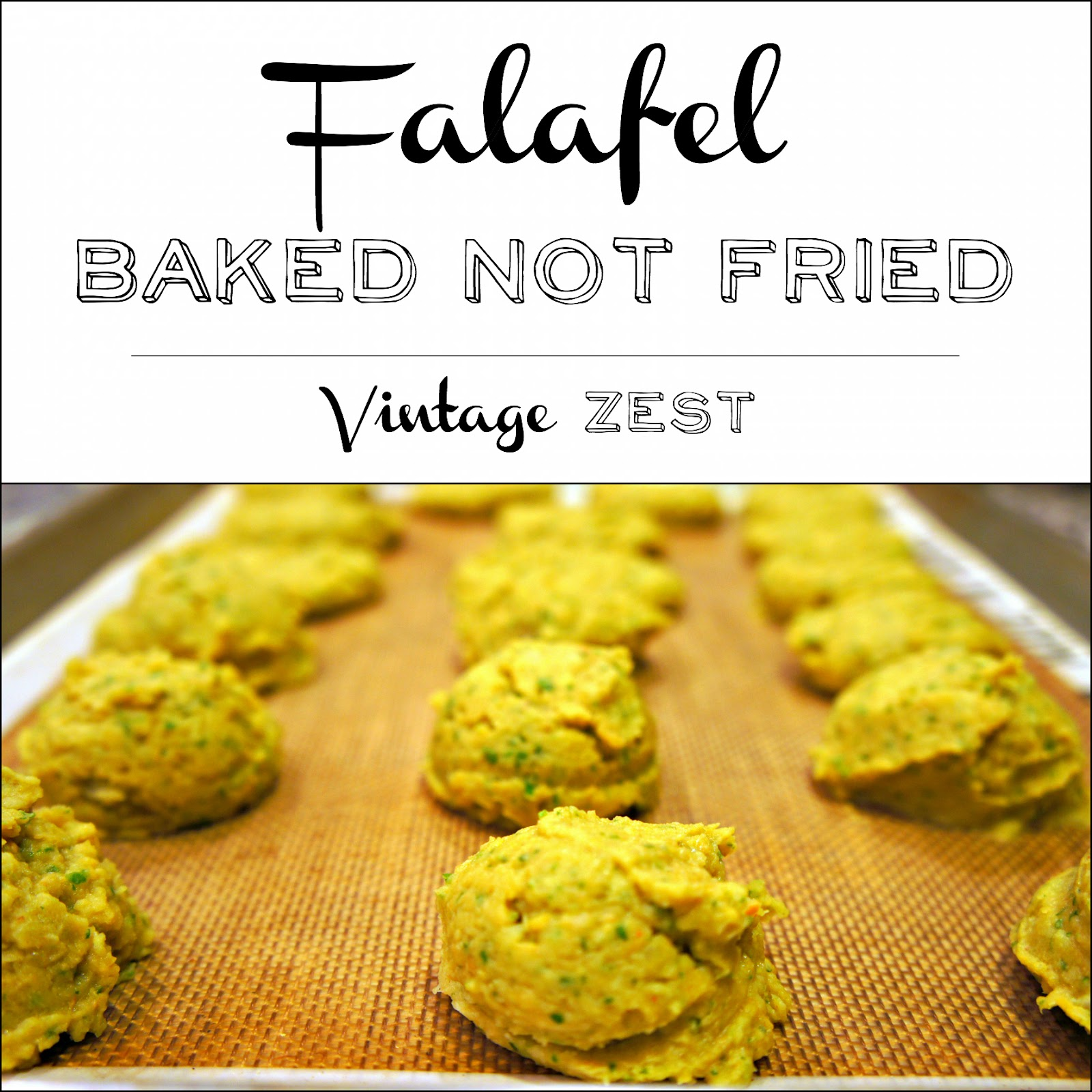 Falafel - Baked Not Fried on Diane's Vintage Zest@ #recipe #healthy #vegetarian