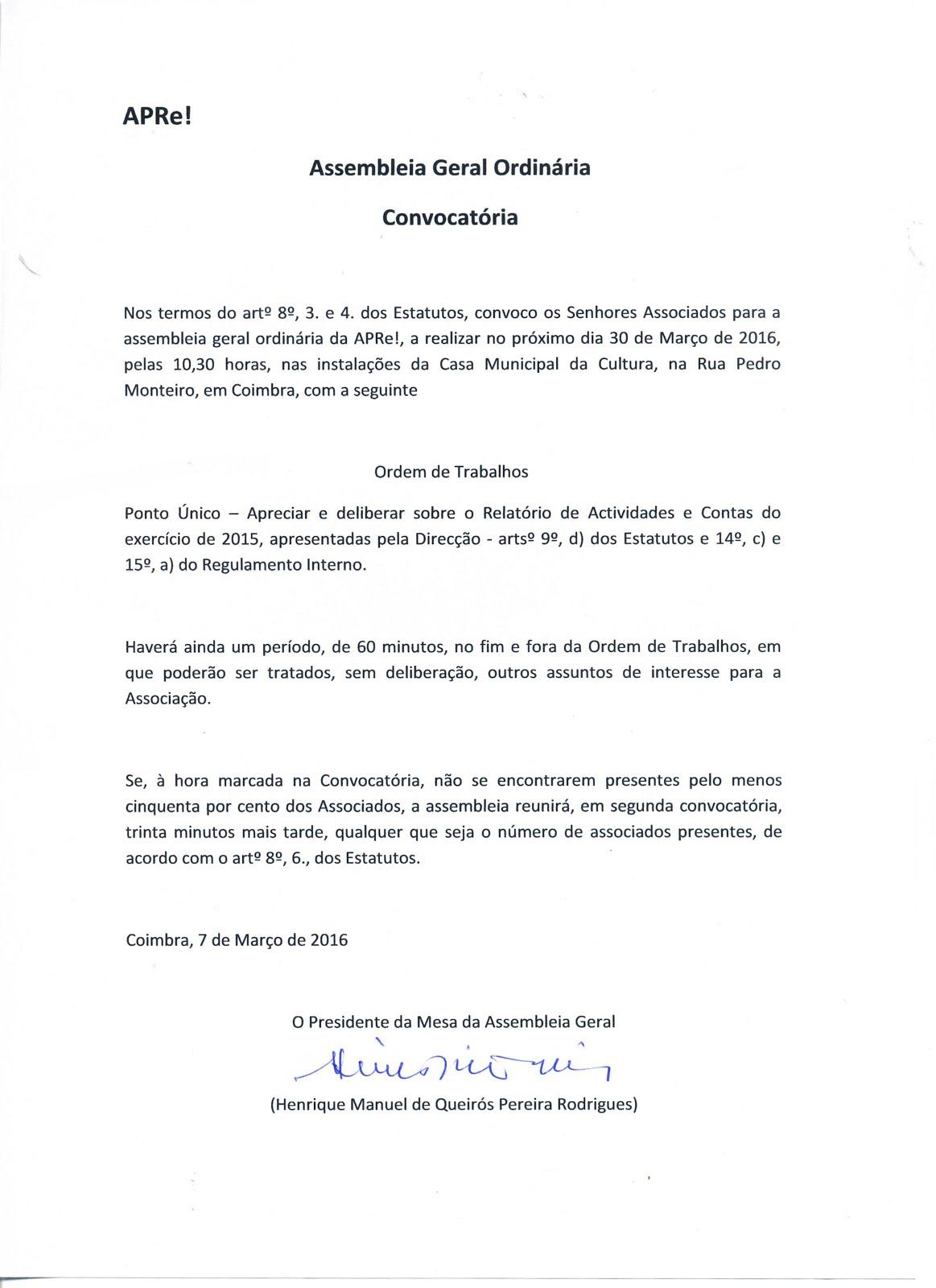 Convocatória para Assembleia Geral Ordinária da APRe!, 30 de Março 2016