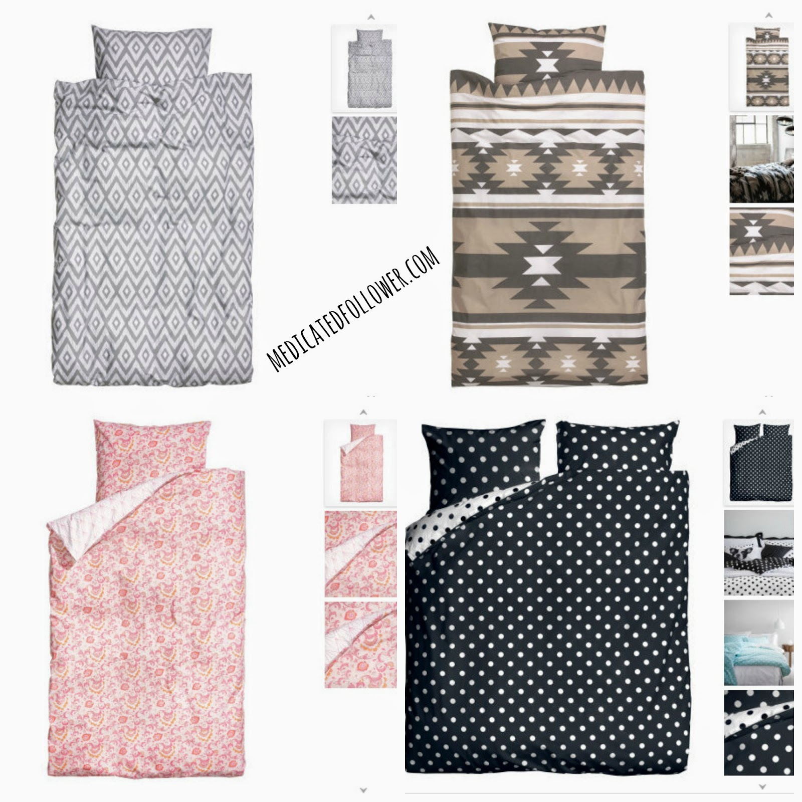 H&M Bedding, duvet covers, trendy, monochrome, Aztec, geometric