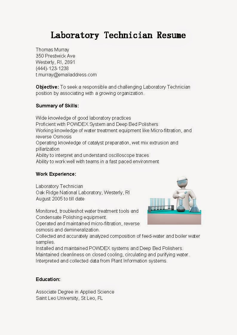 resume samples  laboratory technician resume sample
