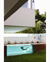 Lofty Swimming Pool With Glass Walls Fresh Bluish Look
