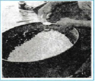 Proses penyampuran kedelai dengan ragi