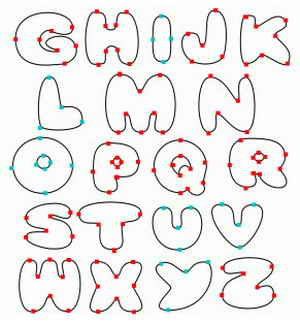 uppercase bubble letters alphabet.
