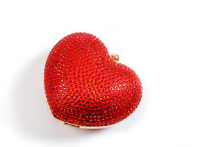 Red crystal heart shaped evening bag