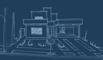 A perspectiva da fachada do projeto, feita a mão livre pelo arquiteto.