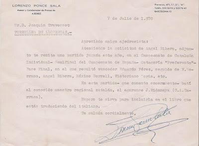 Carta recibida de Lorenzo Ponce Sala a Joaquim Travesset i Barba