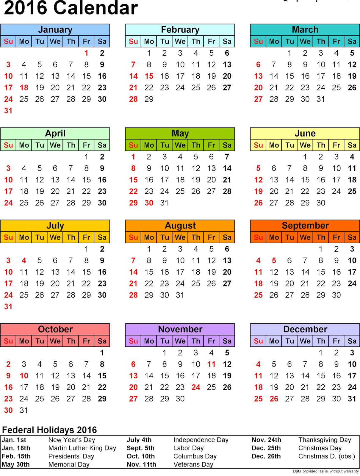 Free]^ Printable Calendar 2016: 2016 Calendar with Holidays Images
