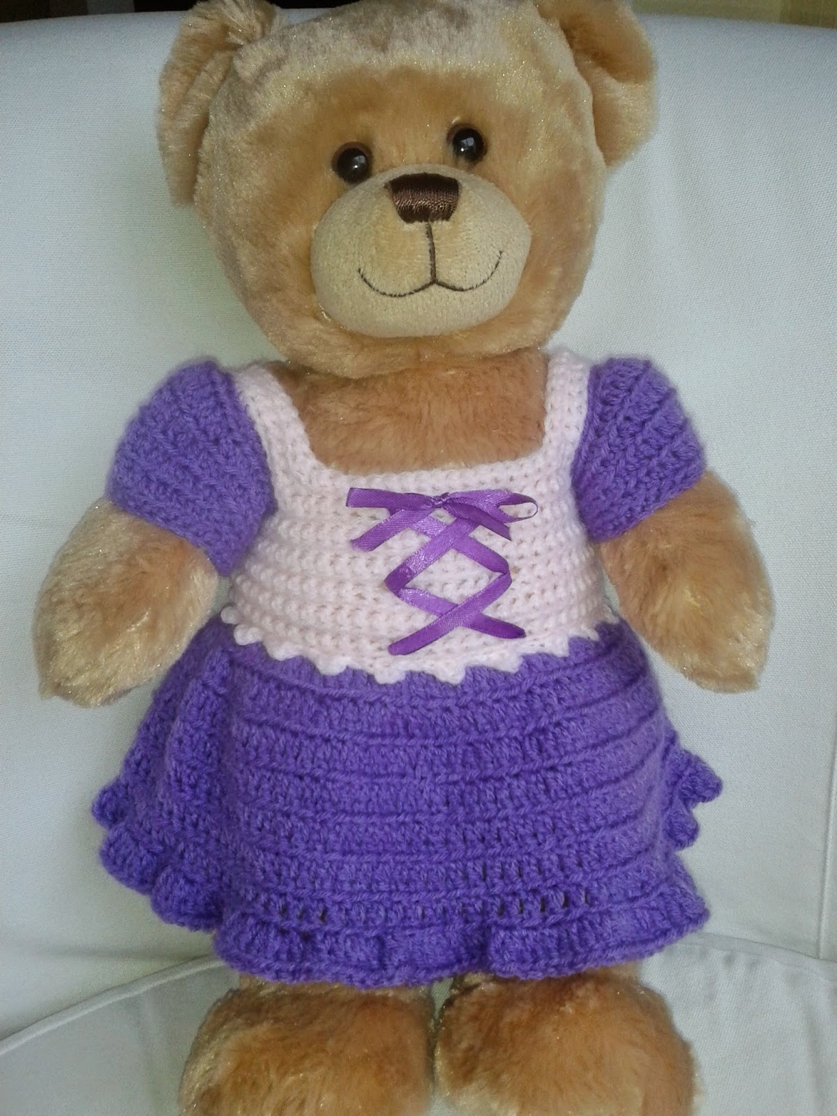 Free Crochet Patterns For Teddy Bear Sweaters : Lyns Dolls Clothes: Teddy bear crochet dress