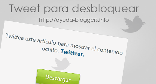 Tweet to Unlock - Usa Twitter para bloquear contenido oculto en tu blog.