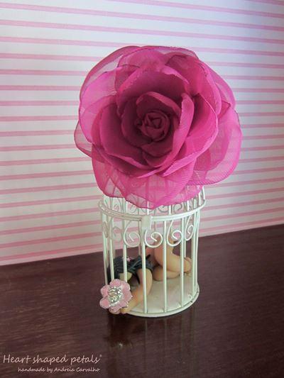 flor cabelo noiva em fuchsia