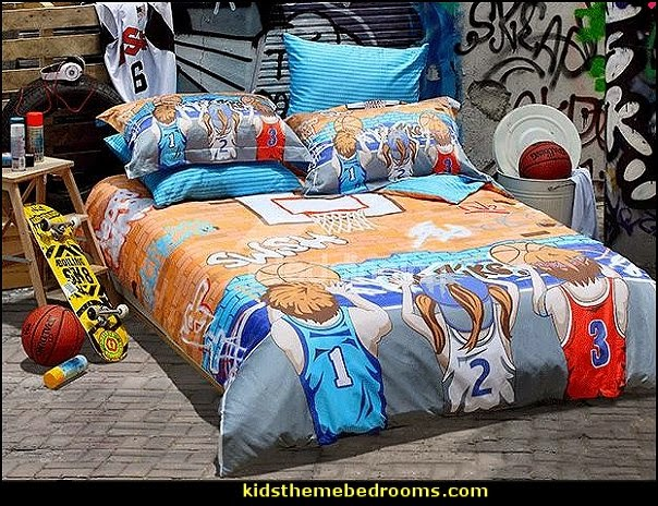 Street Basketball Print 3 Piece Cotton Duvet Cover Sets. Decorating theme bedrooms   Maries Manor  Sports Bedroom