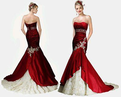 Imagenes de vestidos de novia rojo con blanco